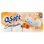 Q-Soft Toaletní papír s vůní broskví 3-vrstvý 8 ks