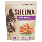 Shelma Bezobilné kompletní krmivo pro sterilizované kočky bohaté na čerstvého lososa 750g