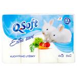 Q-Soft Kuchyňské utěrky extra savé 3 vrstvé 4 ks