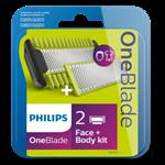 Výměnné břity na tvář a tělo + hřeben na tělo, Philips OneBlade QP620/50