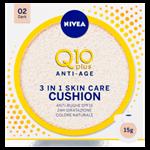 Nivea Q10 Plus Anti-Age Cushion Pečující tónovací krém v houbičce 3 v 1 02 tmavý odstín 15g