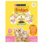 Friskies® Junior s lahodnou kombinací kuřete a krůty s mlékem a se zeleninou 300g