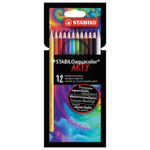 STABILOaquacolor akvarelové pastelky 12 ks pouzdro ARTY