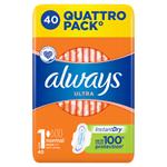 Always Ultra Normal (Velikost 1) Hygienické Vložky S Křidélky 40 ks