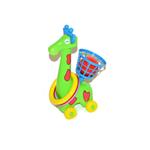 Žirafa házecí na kolečkách s kroužky a košíkem