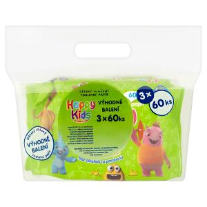 Happy Kids Dětský vlhčený toaletní papír 3 x 60 ks