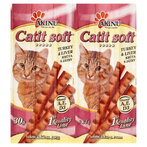 Akinu Catit Soft tyčinky pro kočky krůta s játry 6 x 5g