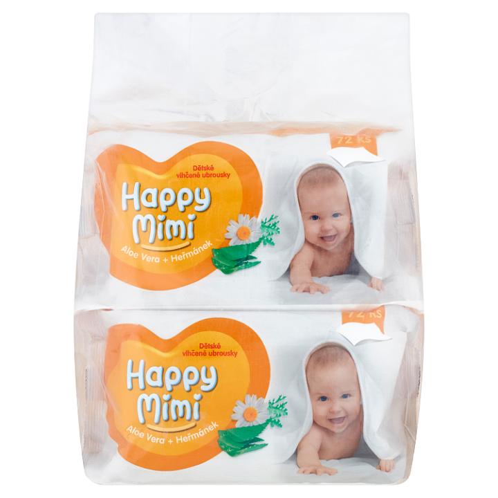 Happy Mimi Dětské vlhčené ubrousky aloe vera + heřmánek 4 x 72 ks