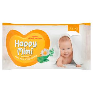 Happy Mimi Dětské vlhčené ubrousky aloe vera + heřmánek 72 ks