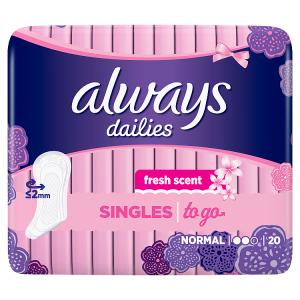 Always Dailies Singles Normal To Go Intimky Fresh 20ks