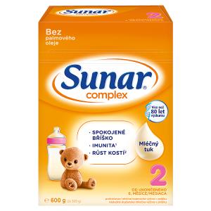 Sunar Complex 2 pokračovací mléčná kojenecká výživa v prášku od ukončeného 6. měsíce 2 x 300g (600g)