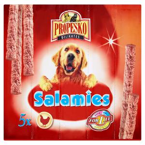 Propesko Salamies Doplňkové krmivo pro dospělé psy drůbeží klobásky 5 x 11g