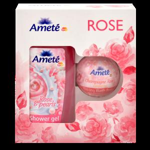 Dárková kazeta Ameté Sprchový gel Rose & Pearls 250ml + Ameté Šumivá bomba do koupele Champagne Rose 100g