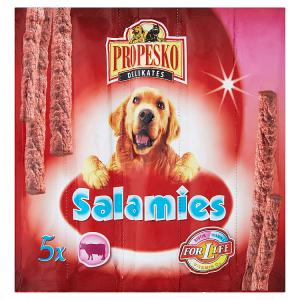 Propesko Salamies doplňkové krmivo pro dospělé psy - hovězí klobásky 5 x 11g