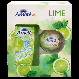 Dárková kazeta Ameté Sprchový gel Karambola & Limete 250ml + Ameté Šumivá bomba do koupele Lime & Coffe 100g