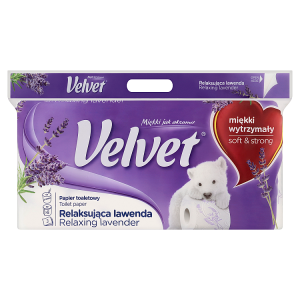 Velvet Relaxing Lavender toaletní papír s vůní 3 vrstvy 8 rolí