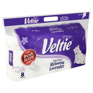 Veltie Relaxing lavender toaletní papír s vůni 3 vrstvy 8 ks