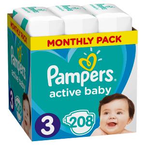 Pampers Active Baby Velikost 3, 208 Plenek, 6-10kg, měsíční balení