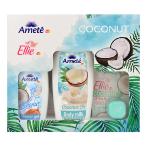 Dárková kazeta Ameté Sprchový gel Coconut 250ml + Ameté Tělové mléko Coconut Oil 400ml + Ellie Balzám na rty Coconut 7g
