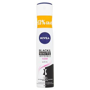 Nivea Black & White Invisible Clear Sprej antiperspirant 200ml