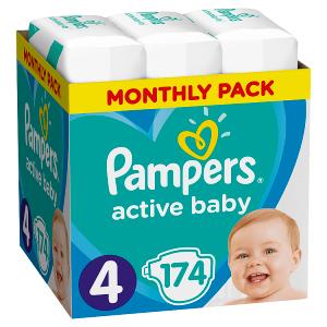 Pampers Active Baby Velikost 4, 174 Plenek, 9-14kg, měsíční balení