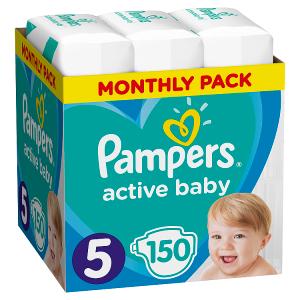 Pampers Active Baby Velikost 5, 150 Plenek, 11-16kg, měsíční balení