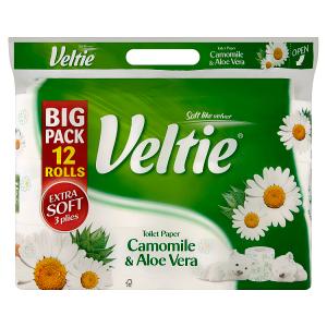 Veltie Camomile & aloe vera toaletní papír s vůni 3 vrstvy 12 ks