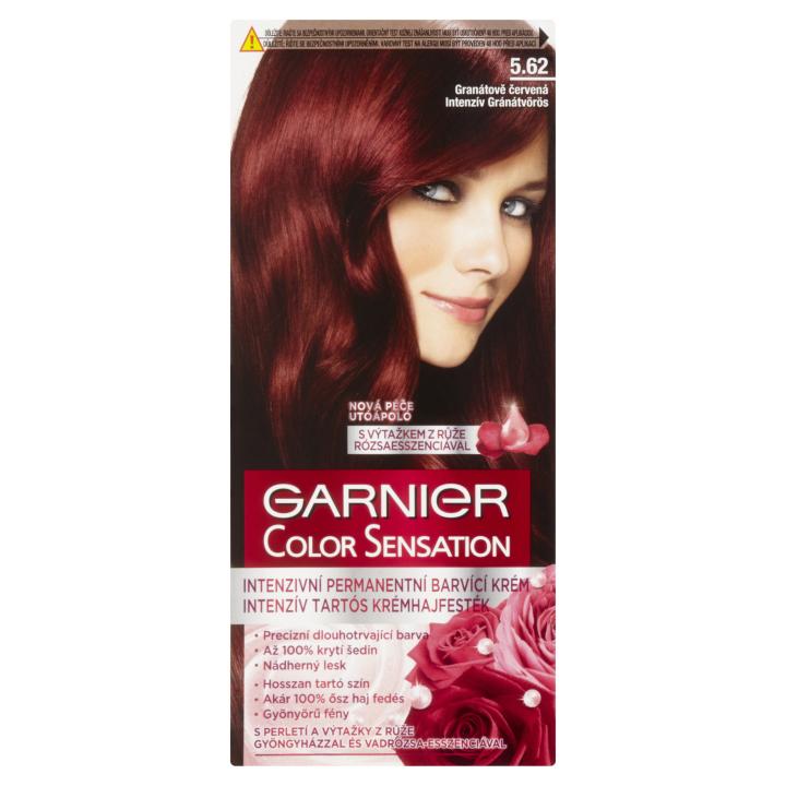E-shop Garnier Color Sensation permanentní barva na vlasy 5.62 granátově červená, 60+40+10ml