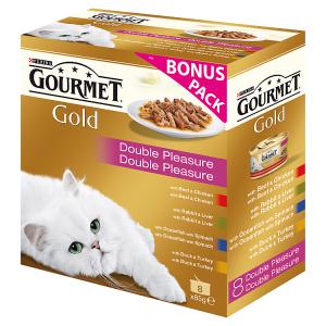 GOURMET Gold Multipack směs dušených a grilovaných kousků 8 x 85g