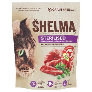 Shelma Sterilised bezobilné kompletní krmivo pro sterilizované kočky bohaté na čerstvé hovězí 750g