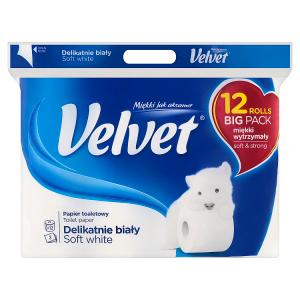 Velvet Soft White toaletní papír 3 vrstvy 12 rolí