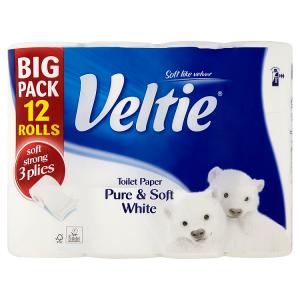 Veltie Pure & soft white toaletní papír 3 vrstvy 12 ks