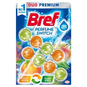 Bref Perfume Switch Juicy Peach / Sweet Apple pevný WC blok 2 x 50g