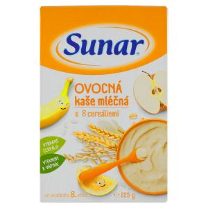 Sunar Ovocná kaše mléčná s 8 cereáliemi 225g