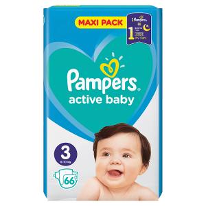 Pampers Active Baby Velikost 3, 66 Plenek, 6-10kg