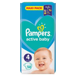 Pampers Active Baby Velikost 4, 58 Plenek, 9-14kg