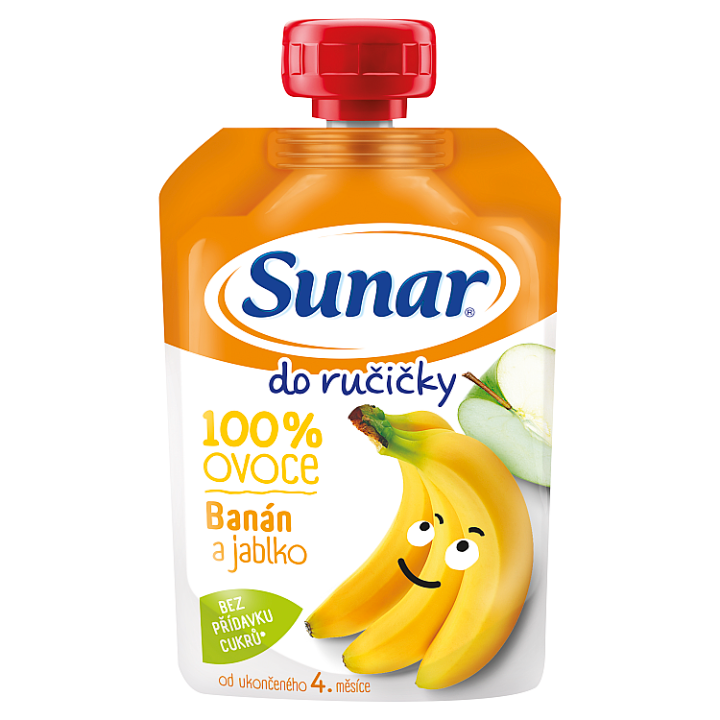Sunárek Do Ručičky Jablko banán 100% ovoce 100g Sunar