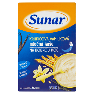 Sunar Krupicová vanilková mléčná kaše na dobrou noc 225g