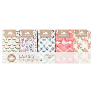 Harmony Ladies' light perfumed papírové kapesníky 3 vrstvy 10 x 10 ks