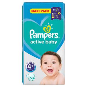 Pampers Active Baby Velikost 4+, 53 Plenek, 10-15kg