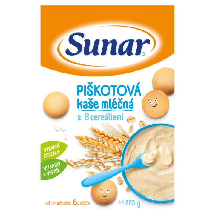 E-shop Sunar Piškotová kaše mléčná s 8 cereáliemi 225g