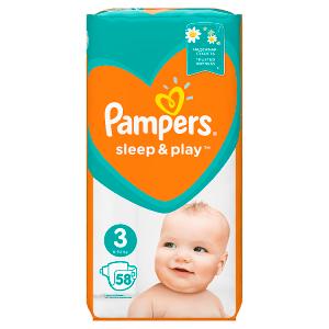 Pampers Sleep&Play V3, 58Plenek, 6-10kg Důvěrný Pocit Sucha