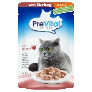 PreVital Naturel Kompletní krmivo pro dospělé kočky s krůtím v želé 85g
