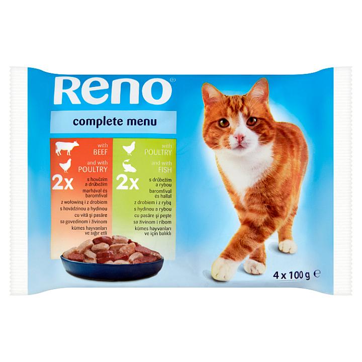 Reno Kompletní krmivo pro dospělé kočky 4 x 100g Reno