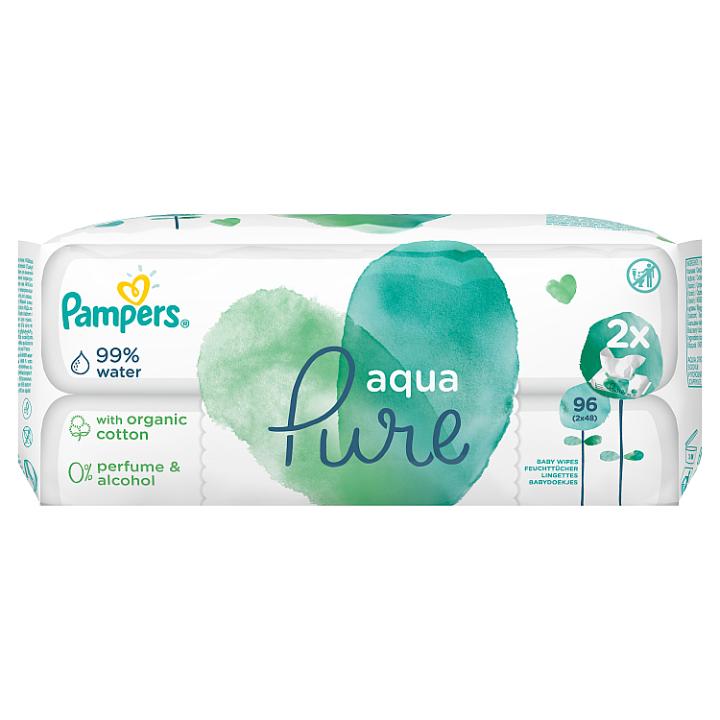 Pampers Aqua Pure Dětské Čisticí Ubrousky 2 Balení = 96 Ubrousků