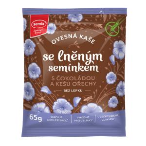 Semix ovesná kaše se lněným semínkem, čokoládou a kešu ořechy, bez lepku 65 g