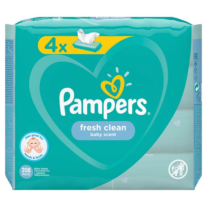 Pampers Fresh Clean Dětské Čisticí Ubrousky 4 Balení = 208 Dětských Čisticích Ubrousků