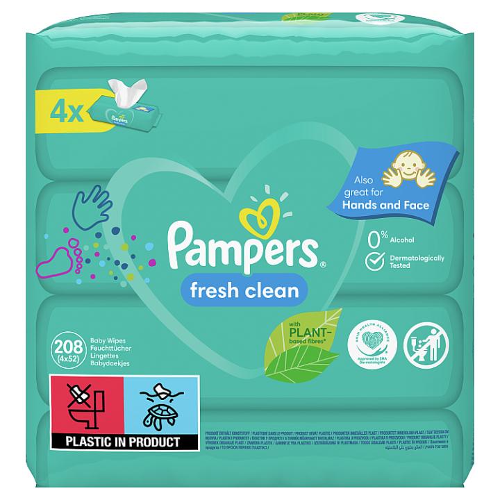 Pampers New Baby Dětské Čisticí Ubrousky 4 Balení = 208 Čisticích ubrousků