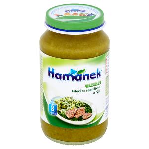 Hamánek Telecí se špenátem a rýží 230g