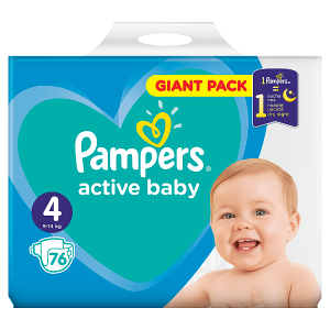 Pampers Active Baby Velikost 4, 76 Plenek, 9-14kg